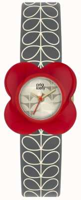 Orla Kiely | Ladies Poppy Watch | Red Case | Grey Stem Print Strap | OK2282