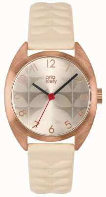 Orla Kiely | Ladies Beatrice Watch | Cream Sun Ray Dial | Nude Strap | OK2290
