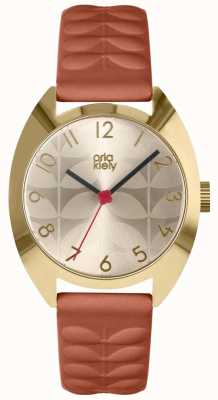 Orla Kiely | Ladies Beatrice Watch | Cream Sun Ray Dial | Tan Strap OK2292