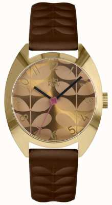 Orla Kiely | Ladies Beatrice Watch | Mustard Dial | Brown Strap OK2294