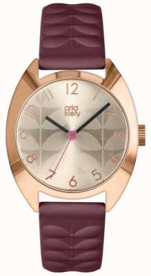 Orla Kiely | Ladies Beatrice Watch | Cream Sun Ray Dial | Plum Strap OK2296