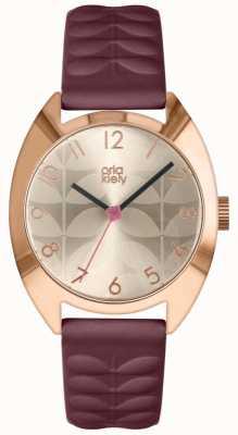 Orla Kiely | Ladies Beatrice Watch | Cream Sun Ray Dial | Plum Strap OK2296