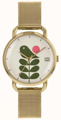 Orla Kiely | Ladies Avery Stem Watch | Gold Mesh Strap | OK4080