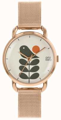 Orla Kiely | Ladies Avery Stem Watch | Rose Gold Mesh Strap | OK4082