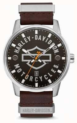 Harley Davidson Men's Brown Leather Strap HD Branded Dial 76B178