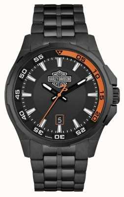 Harley Davidson Mens Dashboard | Black Dial | Black Stainless Steel Bracelet 78B141