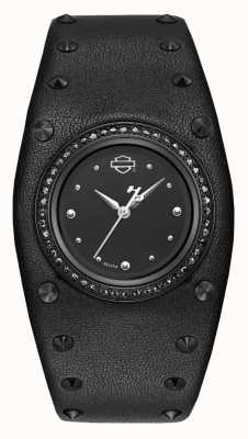 Harley Davidson Women's Studded Leather Cuff | Black Dial 78L128