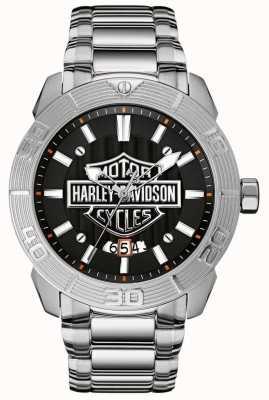 Harley Davidson Men's Stainless Steel Bracelet | Black Dial 76B169