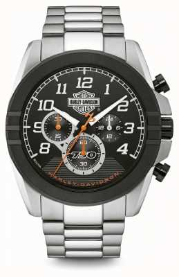 Harley Davidson Mens Chronograph | Black Dial | Two Tone Stainless Steel 76B175