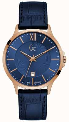 Gc Men's Executive Blue Leather Watch Y38002G7