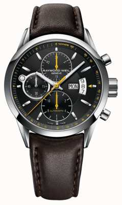 Raymond Weil Mens Freelancer | Chronograph | Brown Leather | Black Dial 7730-STC-20021