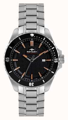 Rotary Mens Aquaspeed | Stainless Steel Bracelet | Black Dial AGB00293/04