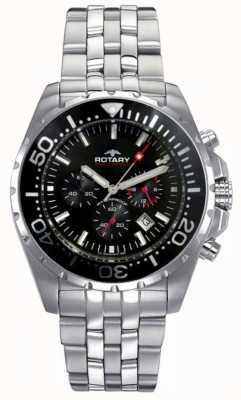 Rotary Mens Aquaspeed | Stainless Steel Bracelet | Black Dial AGB00013/C/04S