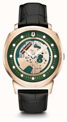 Bulova Mens Accutron II Rose Gold Plated Green Dial Leather Strap 97A122