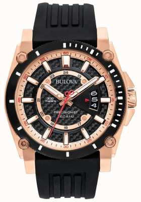Bulova Men's Precisionist Rose Gold Black Rubber Strap 98G152