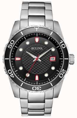 Bulova Men's Sports Black/Red Dial Stainless Steel Bracelet 98A195