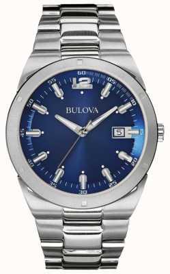 Bulova Mens Classic Blue Dial Stainless Steel Bracelet Date 96B220