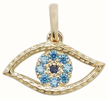 Treasure House 9ct Yellow Gold Evil Eye Blue Cubic Zirconia Pendant Only PN1003