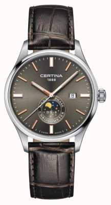 Certina Mens | DS 8 Chrono Moon Phase Brown Leather Strap Grey Dial C0334571608100