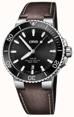 Oris Aquis Date 43.5mm Mens Brown Leather Strap 01 733 7730 4134-07 5 24 10EB