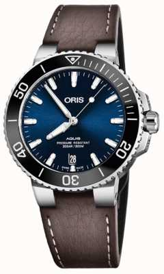 ORIS Aquis Date 39.5mm Mens Watch Leather 01 733 7732 4135-07 5 21 10FC