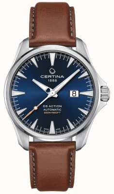Certina Mens DS Action Automatic Brown Leather Strap Blue Dial C0324261604100