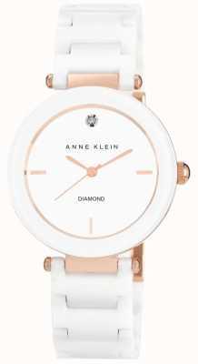Anne Klein | Womens Alice | White Rose Gold Ceramic Bracelet Watch AK-N1018RGWT