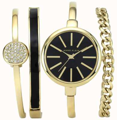 Anne Klein | Womens Black And Gold Bracelet Watch Set | AK-N1470GBST