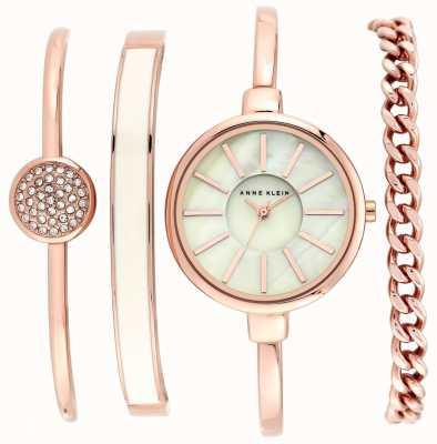 Anne Klein | Womens Pink And Rose Gold Bracelet Watch Set | AK-N1470RGST