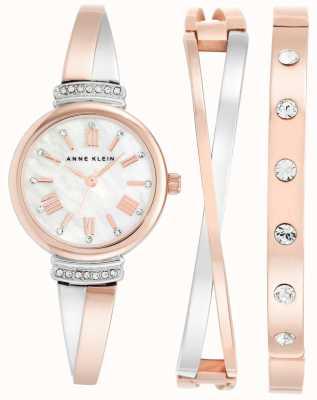 Anne Klein | Womens Clarissa White Rose Gold | Cross Over Gift Set | AK-N2245RTST