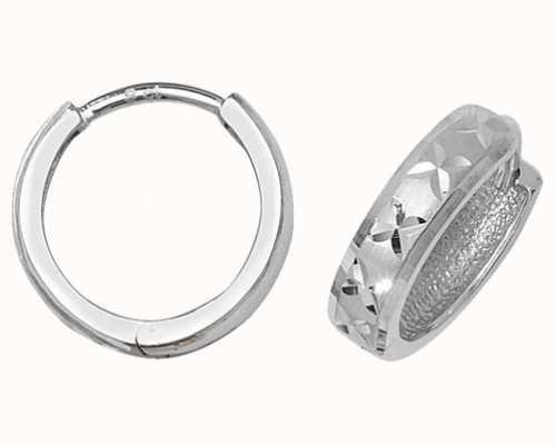 James Moore TH 9k White Gold Diamond Cut Hinged Hoop Earrings ER013W