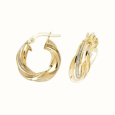 James Moore TH 9k Yellow Gold Twist Hoop Earrings 10 mm ER1050-10