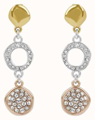 Adore By Swarovski Organic Circle Drop Earrings Rhodium Plated Tri-Tone 5419379