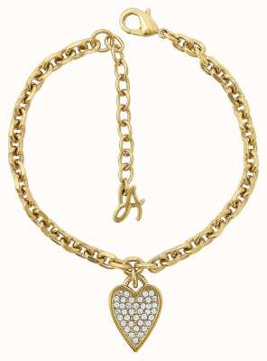 "Adore By Swarovski Pointed Heart Charm Bracelet 6.5-8"" Gold Plated 5303084"