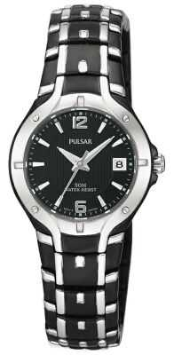 Pulsar Womens Black Stainless Steel Bracelet Watch PXT595X1