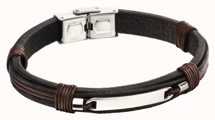 Fred Bennett Stainless Steel Brown Leather ID Bracelet B5124