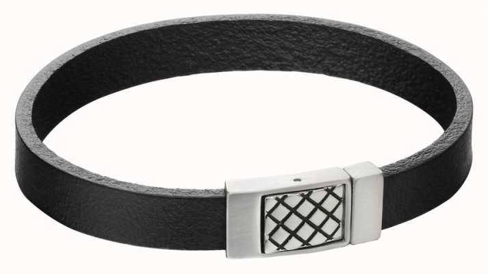 Fred Bennett Mens Criss Cross Steel Clasp Black Leather Bracelet B5164