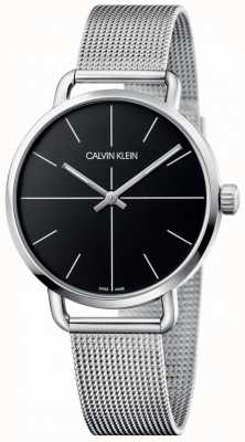 Calvin Klein | Womens Even Medium Stainless Steel Mesh | Black Dial | K7B21121