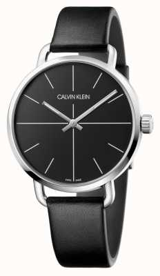 Calvin Klein | Mens Even Watch | Black Leather Strap | Black Dial | K7B211CZ