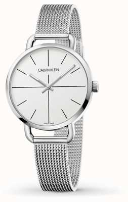 Calvin Klein | Womens Even Small Stainless Mesh Bracelet | White Dial | K7B23126