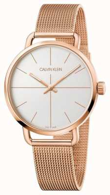 Calvin Klein | Even Watch | Rose Gold Mesh Strap | Silver Dial | K7B21626