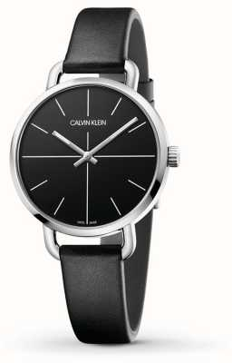 Calvin Klein | Even Extension Watch | Black Leather Strap | Black Dial | K7B231CZ