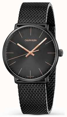 Calvin Klein | High Noon Watch | Black Stainless Mesh Strap | Black Dial K8M21421