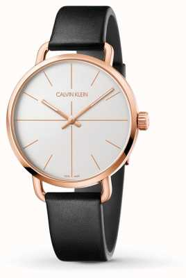 Calvin Klein | Womens Even Extension | Black Leather | RoseGold Case K7B236C6