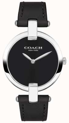 Coach | Womens Chrystie Watch | Black Leather And Steel | 14503091
