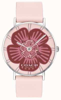 Coach | Womens Perry Watch | Pink Leather Strap | Floral Dial | 14503231