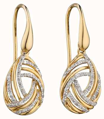 Elements Gold 9ct Yellow Gold And Diamond  Swirl Drop Earrings GE2226