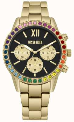 Missguided | Ladies | Gold Strap | Black Dial | Rainbow Stone Bezel MG015GM