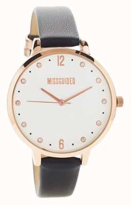 Missguided | Ladies Watch | Black Leather Rose Gold Case | MG010BRG