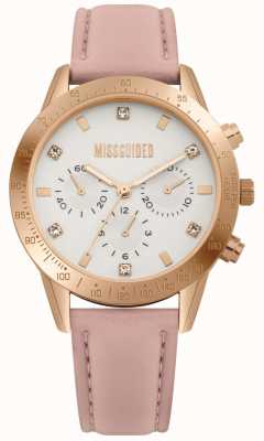 Missguided | Ladies Watch | Pink Leather Strap | MG004PRG